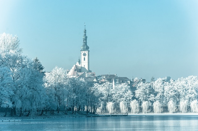 město tábor v zimě